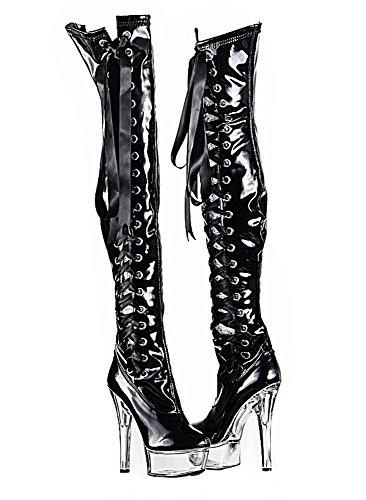 Ruby-Fashion Sexy Overknee Stiefel Stiletto High Heels Crystal Plateau Boots Gogo Lack Damen Schuhe Langschaft Over-Knee Lackstiefel Schwarz Schnürung Reißverschluss Black Schwarz