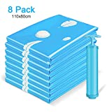 Vemingo Vacuum Storage Bags Air Tight Bags Save 80% Space 8 Pack Extra Large 43 X 32'' Bonus Hand-Pump (Blue)