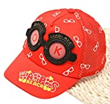 Roffatide Toddler Boys Girls Two Tone Mesh Baseball Cap Kids 3D Glasses Summer Bill Snapback Sun Hat Red