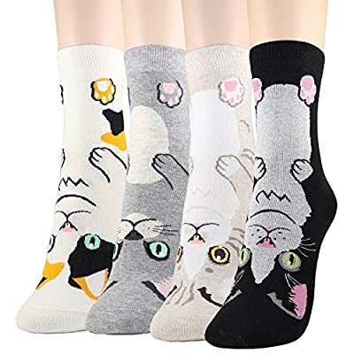 Cat Fan related Products DearMy Womens Cute Design Casual Cotton Crew Socks | One Size... [tag]