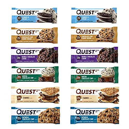 Quest Nutrition Protein Bar Fan Favorite's Variety Pack. Low Carb Meal Replacement Bar w/20g+ Protein. High Fiber, Soy-Free, Gluten-Free (24 Count)