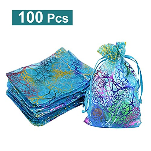 Organza Drawstring Gift Bags WINOMO Jewelry Pouches Favor Bags Blue Pack of ()