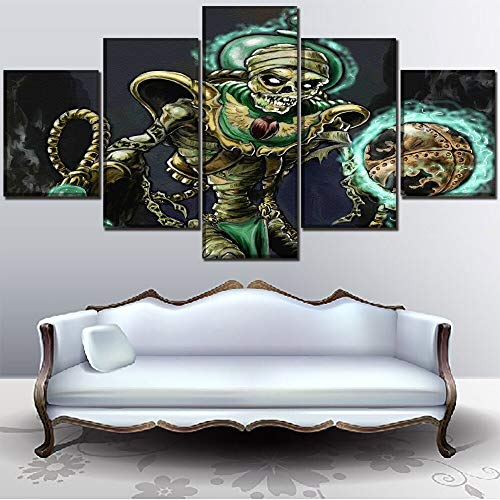 LONLLHB Painting 5Pcs Sci Fi Steampunk Skull Creepy Halloween Horror Poster Modern Wall Art Decorative Canvas Print Painting]()