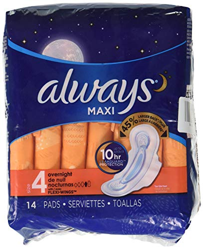 Always Maxi Size 4 Overnight Pads with Wings, Unscented 14 count (Always Infinity Overnight 14)