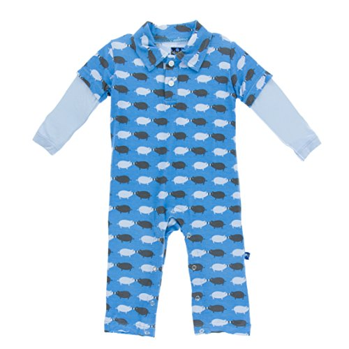 KicKee Pants Little Boys Print Long Sleeve Polo Romper - River Pig, 12-18 Months (Pigs Kickee)