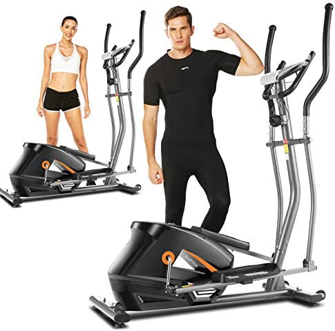 Portable Magnetic Ellptical Exercise Machine with LCD Display /& Handle Tracking Heartbeat ANCHEER E605Elliptical Machine Multi-Grip Handlebars for Home