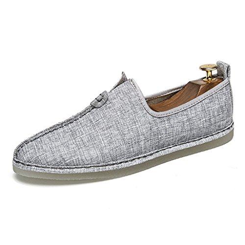 Chinesischer Tang Anzug Hanfu chinesischen Stil Herren Leinen faule Schuhe Sommer Segel alten Peking Zen Schuhe Retro Herrenschuhe (Farbe : Grau  größe : 6UK=40EU) Grau