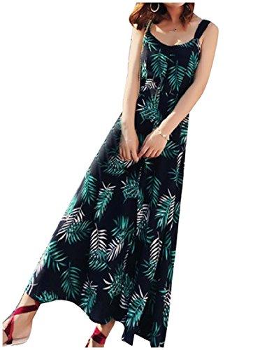 Coolred-femmes Écharpe Florale Bohème En Mousseline De Soie En Forme Sur Mesure À Long Maxi Vert Robe De Plage