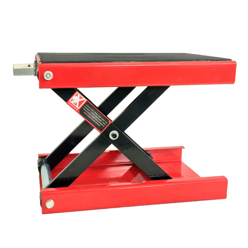 SUNROAD 1100 LB Motorcycle Center Scissor Lift Jack ATVs, Dirt Bike Scooter Crank Hoist Stand Red