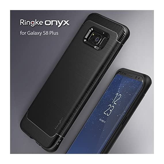 Ringke Onyx Compatible with Galaxy S8 Plus Case PartialUpdated Version Brushed Metal Design Flexible & Slim Dynamic Stroked Pattern Trim Fingerprint Resistant Cover for Galaxy S 8 Plus - Black 7 Heavy duty defense and brushed metal texture layout with a mechanical design complete with Military Grade MIL-STD 810G - 516.6 drop protection. Supports Qi Wireless Charging without the hassle of having to remove the case for Galaxy S8 Plus. Precision-cut TPU profile improves the slim and streamlined appearance with a tough outer flexible protective layer closely contouring each edge and curve of your device. The precise slim fit stays perfect and true to preserve all the premium profile. Highly durable specialized thermoplastic urethane material case is perfectly compatible and secures your device in a comfortable flexible fit for optimized protection against scratches or scrapes. Ultra sturdy yet lightweight, there's no chance in weighing down or bulking up your slim device.