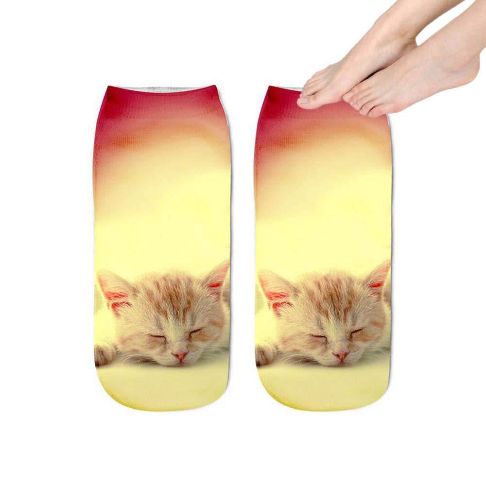 KOBWA 3D Athletic Ankle Socks Funny Unisex Short Socks 3D Cat Printed Animal Socks