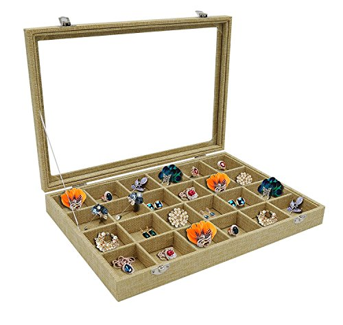 RJ Displays-24 Grid Linen Jewelry Tray Showcase Display Storage Rings Coins Gemstones Small Jewelry Earrings Brooch Buttons Vintage Organizer Glass Top with Lock (24 Grid) (24)