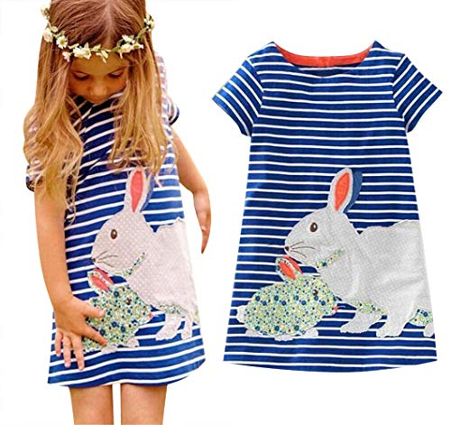 (BANGELY Kids Girls Stripe Bunny Easter Tutu Dress 3D Cartoon Short Sleeve Casual Loose Princess Dresses Size 5-6Years/Tag130 (Blue))