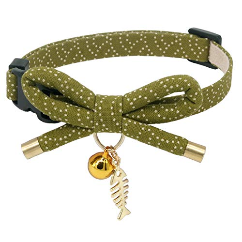 PetSoKoo Bowtie Cat Collar with Bell. Stylish Bowknot with Fish Bone Pendant. Safety Breakaway, Light Weight, Soft, Durable. (Small (6-9.5 Inches,16-24cm), Grass Green)