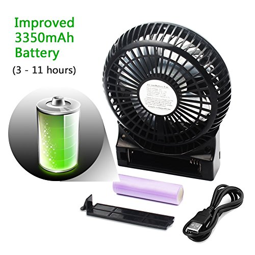 OPOLAR 3350mAh (3-11 Hrs) Capacity Rechargeable Fan, Battery Operated or USB Powered Fan, Handheld Fan with Internal and Side Light, 3 Speeds, Personal Desk Fan for Traveling, Boating, Fishing