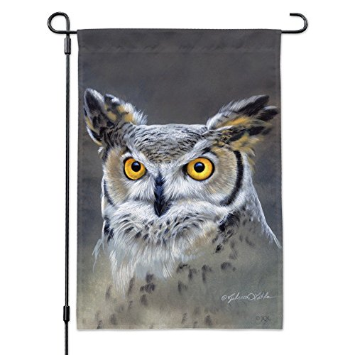Graphics and More Great Horned Owl Painting Garden Yard Flag with Pole Stand Holder ()