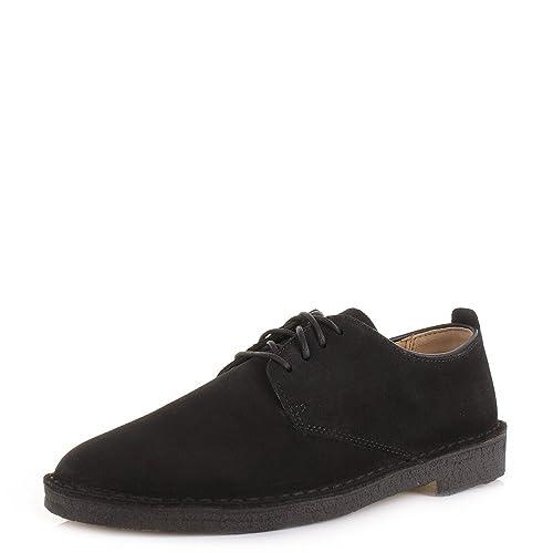 Mens Clarks Originals Desert London 4 Black Suede Lace Up Casual Shoes SIZE  7