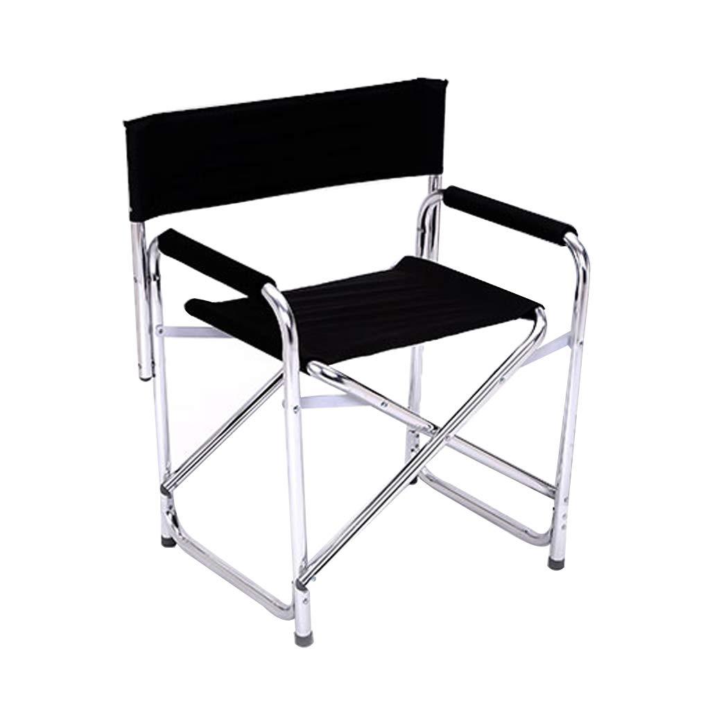 HYXI-Klappstuhl Klappstuhl, Portable, Aluminiumlegierung, Outdoor Angeln Camping Strand Skizze Freizeit Computer Stuhl/Schwarz / Größe: 63x46x78cm