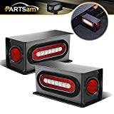Partsam 2Pcs Steel Trailer RV Light Boxes Housing Kit w/ 6' Oval Led Trailer Tail Lights Red/White & 2' Red Led Round Side Marker Lights 4LED w/Grommets and Wire connectors
