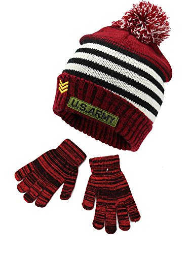 Polar Wear Kids Boys Winter Knit Cuffed Embroidered 'US ARMY' Beanie Hat with Pompom and Gloves Set Red/Black/White One Size Fits (Boys Hat Glove)