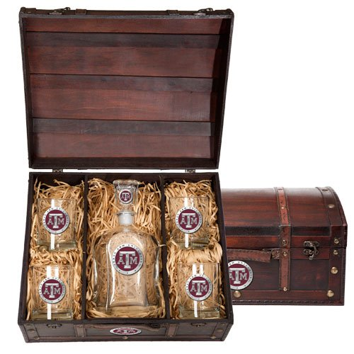 Texas A&M Aggies Capitol Decanter Wood Chest Set by Heritage Pewter