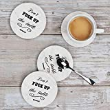 Coasters for Drinks 8-Piece Funny Absorbent Stone