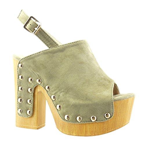 Angkorly Damen Schuhe Sabot Sandalen - Plateauschuhe - Nieten - Besetzt - Wooden Blockabsatz High Heel 12.5 cm Grüne