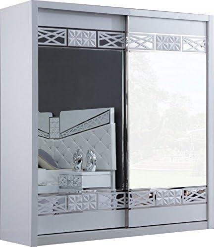 Armario 2 puertas correderas lacado blanco y cromado: Amazon.es: Hogar