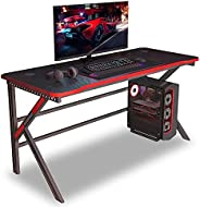 Arespark Gaming Desk, Gaming Table Without/with RGB Light and Mouse Pad, Various LED Color Lights, K-Shaped Co