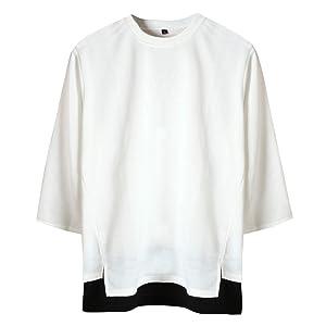 [サコイユ] カットソー トップス 7分袖 レイヤード風 Tシャツ 薄手 スウェット 無地 切替 秋 冬 春 メンズ スエット スウエット 服 ふく ティーシャツ シャツ 重ね着 大きい おおきい サイズ 男性用 男性 だんせいよう 男の子 おとこのこ オトコ 男子 だんし ダンシ 紳士用 しんし めんず mens 黒 ブラック 白 ホワイト くろ しろ 夏 (05.3XL, ホワイト)
