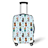 Travel Luggage Cover Suitcase Protector,Nursery,Collection of Animals with Winter Clothing Hats Hot Coffee on a Dotted Background Decorative,Multicolor,for Travel