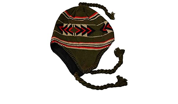 a0f53424662a35 SW Men's Peruvian Helmet Style Earflap Strings Beanie Knit Hat Green Black  Red at Amazon Men's Clothing store: