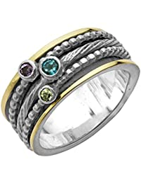 ♥925 Sterling Silver and 14K Gold Multi-Gemstone Spinner Ring