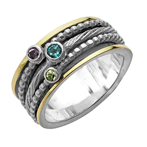 Paz Creations ♥925 Sterling Silver and 14K Gold Multi-Gemstone Spinner Ring (6),Made in Israel ()