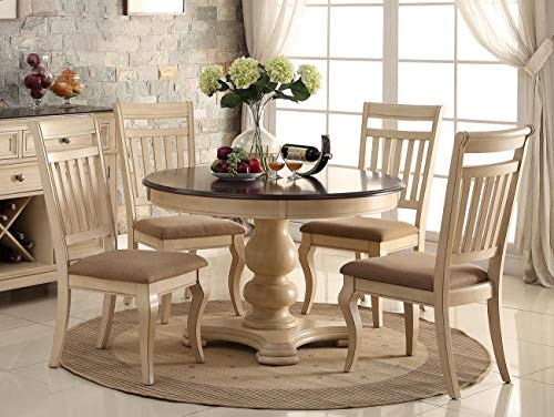 PAC Furniture New 5PC Antique White Wash Cherry Finish Wood Round Dining Table Set