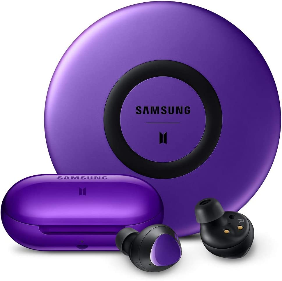 Amazon Com Samsung Galaxy Buds Plus True Wireless Earbuds W Improved Battery And Call Quality Wireless Charging Case Included Purple With Fast Charge Wireless Charging Pad