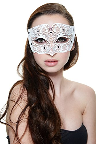 [Intriguing Prince Charming Masquerade Mask (Unisex; White; Pink Rhinestones; One Size)] (Womens Masquerade Costume Countess)