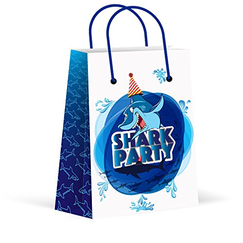 LARZN Premium Shark Party Bags, New,Treat Bags, Gift Bags ,Goody Bags, Shark Party Favors , Shark Party Supplies, Decorations, 12 Pack ()