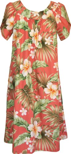 Rjc Womens Full Bloom Tropical Muumuu Tea Length Dress Coral Q3x