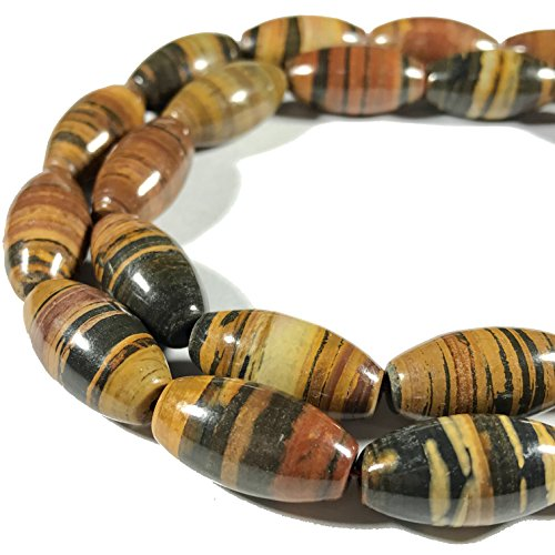 Petrified Wood Beads ([ABCgems] Madagascar Chocolate Petrified Wood AKA Fossilized Wood (Beautiful Tiger Matrix) 10x20mm Smooth Rice Beads)
