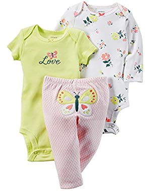 Carters Baby Girl Floral Bodysuit & Butterfly Pants Set, 3 Months