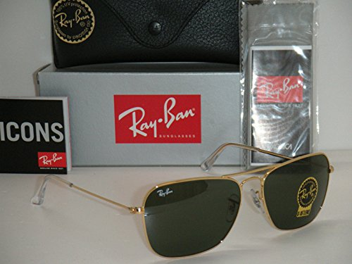 Ray Ban Caravan RB 3136 001 58mm Gold/ Crystal Green G-15 - 15 Sunglasses