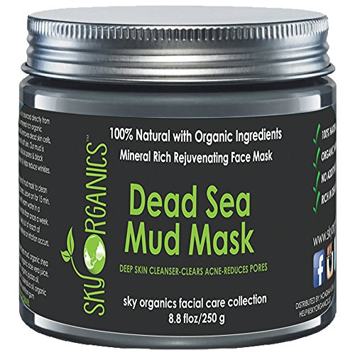 Dead Sea Mud Mask by Sky Organics For Face, Acne, Oily Skin & Blackheads - Best Facial Pore...