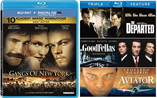 Gangs of New York Action Crime Blu Ray Martin Scorsese Triple Feature (Goodfellas / The Aviator / The Departed) triple Double Feature