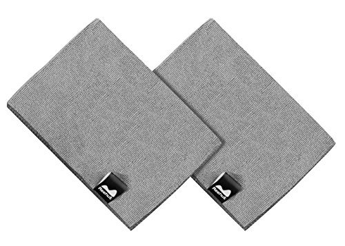 "Reehut Hot Yoga Hand Towel (2pc - 30""x20"") - Microfiber Bikram Towel for Workout, Fitness and Pilates (Grey)"