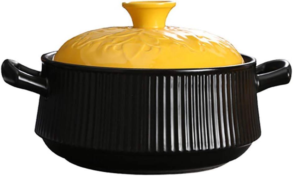 l.e.i. 3.17Quart Soup Hot Pot Ceramic Casserole,Healthy Cookware Earthen Pot Clay Pot Casserole with Yellow Lid Dish Crockpot Slow Cooker Black