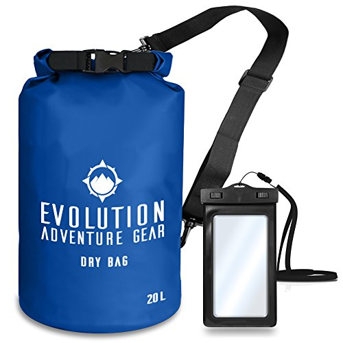 Evolution Floating Waterproof Dry Bag - Professional Adventure Gear - Roll Top Compression Sack for Kayaking, Boating, Hiking, Fishing, Camping and Outdoor Travel - Waterproof Phone Case - 20L Blue