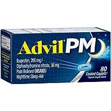 Advil PM (80 Count) Pain Reliever / Nighttime Sleep Aid Caplet, 200mg Ibuprofen, 38mg Diphenhydramine