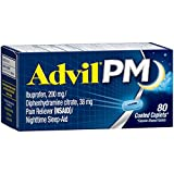 Advil PM (80 Count) Pain Reliever/Nighttime Sleep Aid Coated Caplet, 200mg Ibuprofen, 38mg Diphenhydramine