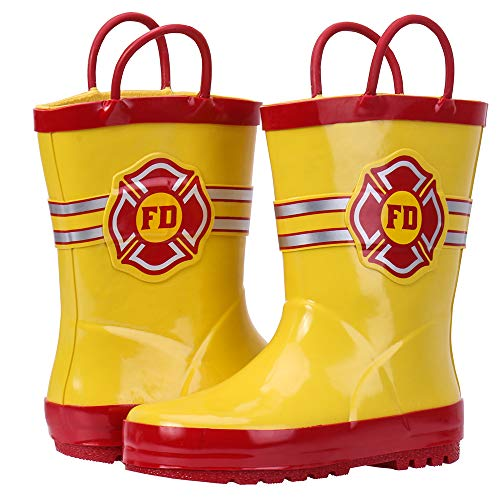 ALEADER Boys Girls Waterproof Rubber Rain Boot with Easy Pull On Handles Yellow/Fire Mark 9/10 M US -